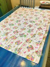 """Vintage Baby Quilt Blanket Nursery Hand Made Embroidered 34.5"""" x 48"""" Hobby Retro"""