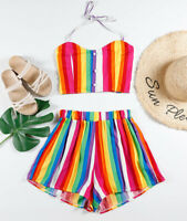 Women Sexy Two-Piece V Neck Romper Crop Top Shorts Jumpsuit Summer Set Outfit US