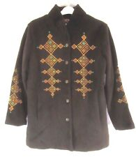 Bob Mackie Wearable Art Womens Coat Jacket L Brown Plush Embroidered Button SR70