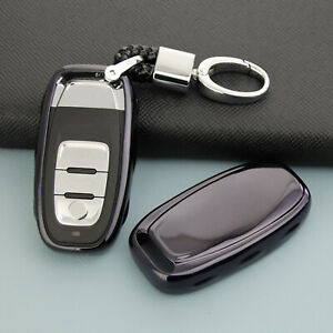For Audi Q5 A4 B8 A5 A6 Black Smart Car Key Case Chain Ring Fob Cover Holder