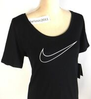 NIKE WOMEN'S DRI-FIT SIZE MEDIUM ATHLETIC CUT BLACK WHITE T-SHIRT TOP TEE