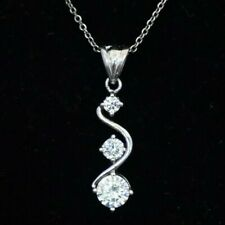 EXQUISITE SOLID STERLING SILVER NECKLACE - 18 INCH -  ZIRCON ETERNITY PENDANT