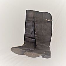 Chinese Laundry Black Leather Over The Knee Flat Boots