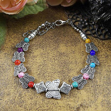 HOT Free shipping New Tibet silver multicolor jade turquoise bead bracelet S48