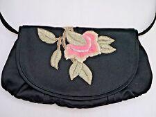 YVES SAINT LAURENT YSL black satin embroidered handbag convertible clutch