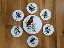 Set of Vintage H&R Johnson Ltd Circular Trivet & 6 Tile Coasters - BIRD THEME