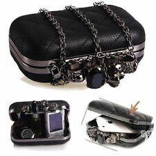 Black Skull Clutch Purse Women Lady Shoulder EveningBag PU Leather Small Handbag