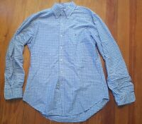 Polo Ralph Lauren Mens Sz Medium Blue White Gingham L/S Button Down Shirt Oxford