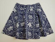 REYN SPOONER Flared Mini Skirt Hibiscus, Flag, Nene Goose Print Girls 14 Blue