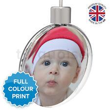 Personalised Custom Photo Christmas Xmas Tree Round Bauble Ornament Gift