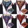 USA Shipping Men's Paisley Flower Cravat Ascot Necktie Pocket Square Set