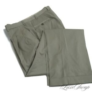 Brioni Made in Italy Delta Green Infused Tan Gabardine Pants Trousers 35 L NR #1
