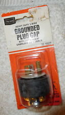Vintage new old stock Sears Leviton grounded plug cord cap,15 Amp,125 volt,male