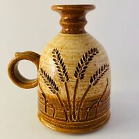Wheel Thrown Studio Art Pottery Cruet Tan Brown Wheat Design Signed Vintage