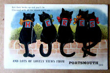 SCARCE PORTSMOUTH LOUIS WAIN VINTAGE POSTCARD LUCK NOVELTY FOLD-OUT VERY GOOD