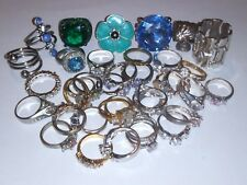 Huge Vtg To Now Junk Drawer Costume Ring Lot Unsearched Untested Estate 37 Rings