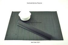 4 calidad fina hecha a mano de bambú Manteles Individuales Tapetes De Mesa, Tamaño Grande, Negro PJ011
