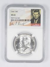 MS-65 1964 Kennedy Half Dollar Silver Graded NGC - Special Label - First Year