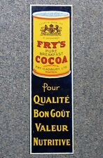 Antique Montreal, Quebec FRY'S COCOA tin push plate advertising sign FREE SHIP!