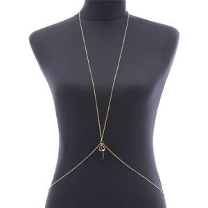 Sexy Women Harness Beach Bra Bikini Body Chain Necklace Crystal Pendant Jewelry