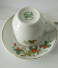 W/22K Gold Trim-Made In Brazil 1978 Porcelain Strawberry demi cup & saucer Avon