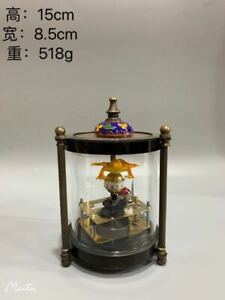 Mechanical Clock Cloisonnee Horologe Copper Glass around Frog AP357