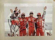 F1, HAMILTON, MASSA & RAIKKONEN HAND SIGNED PHOTO. GENUINE ORIGINAL AUTOGRAPHS