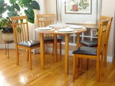 5 Pcs Dining Room Dinette Kitchen Set Round Table and 4 Warm Chairs Maple