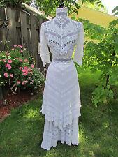Vintage / Antique 1890's - 1900's White Lawn Tea Dress Garden Party Handkerchief