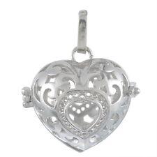 1 Pendentif Cage de Bali Bola Mexicain Coeur Pour Bille d'harmonie 2.7x2.83cm