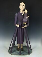 HANDCARVED WOOD CAGE DOLL WITH BABY