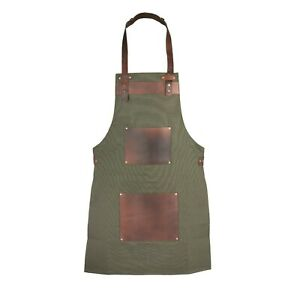 Olive Green Canvas and Leather Apron Butcher Apron - BBQ Apron - Cooking Apron