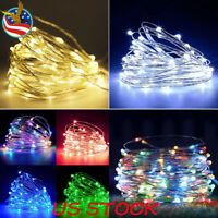 20/30/50/100 LED String Fairy Lights Silver Copper Wire Battery Powered Lamp USA
