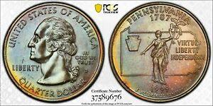 1999-D USA STATE QUARTER PENNSYLVANIA PCGS MS64 BU UNC GEM TONED COLOR