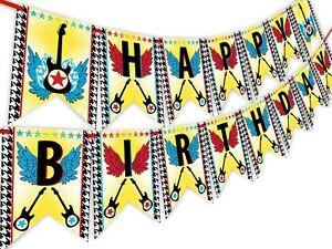 Rock Star Happy Birthday Banner
