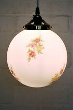 Ceiling Light Shade Retro White Floral English Country Glass Globe + Gallery