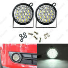 2x 12V 18LED DRL Round Car Fog Light Driving Light Bright White DRL Grille Mount