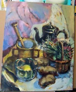 """MORTAR AND PESTLE"" by Ruth Freeman ACRYLIC ON STRETCHED CANVAS 24"" X 36"""