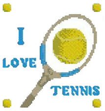 "I Love Tennis Sampler Counted Cross Stitch Kit 5.5"" x 6"" Ratchet Sport"