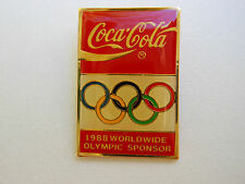 Olympic PIN Vintage 1988 COCA-COLA Worldwide Corporate Sponsor w/ Colorful Rings