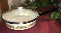 "Spice Of Life White Enamel 10"" Fry Pan with Lid Vintage"