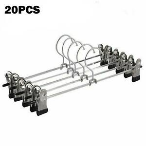 20 X Metal Clip Coat Hangers Clothes Closet Pant Trousers Skirt Non-slip Rack.