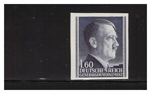 GER. OCCUPATION OF POLAND SC.N96 1943 1.60Z HITLER HEAD IMPERF VERY RARE MNH PG4