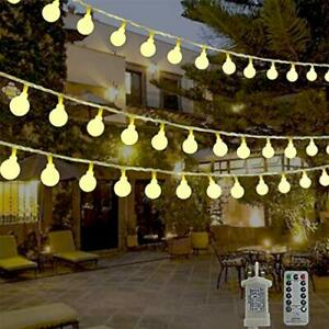 Globe String Lights Waterproof, 15M/49ft 120 LED Fairy Lights Plug in Powered