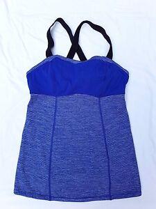 AS NEW Lululemon Size 4 (8) Tank Top Catch Me Blue Stripe Activewear Sportluxe