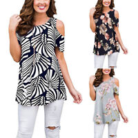 Women Cold Shoulder T-Shirt Ladies Boho Loose Blouse Tunic Tops Summer Casual