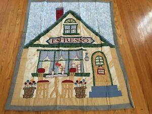 "NEW Handmade Coffee House Throw quilt 60"" x 50"""