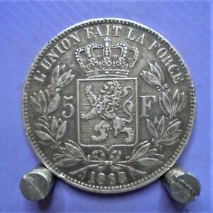 Belgium 5 franc coin , 90% silver , 1868 , Leopold II U.K. only.