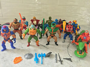He-Man MOTU Vintage Lot - 12 Figures Weapons, Accessories, Blue Sword Axe, Roton
