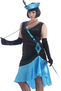 Blue Flapper Costume Dress Sexy 20s Betty Boop Adult Gatsby 20's - Plus Size XL